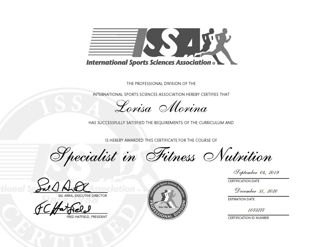 Specialist in Fitness Nutrition 2020